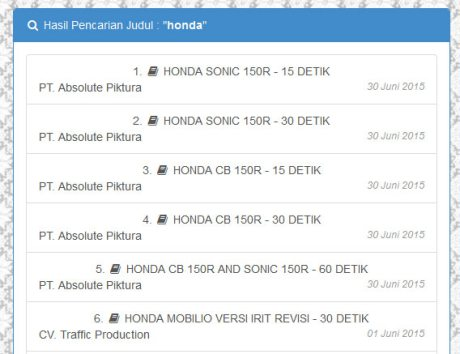 Daftar Iklan Honda